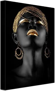 Abstract Poster Printed Golden Fashion Black Woman Portrait Artwork Canvas Print Living Room Wall Decor Frame to Hang 12x16inch