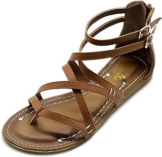 Ollio Women's Shoe Gladiator Strap Flat Zori Sandal