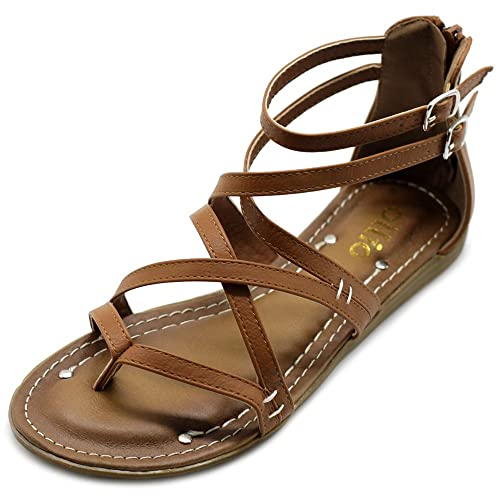 fb6c86741c53 Ollio Women s Shoe Gladiator Strap Flat Zori Sandal