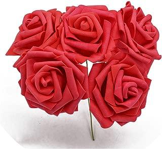 Old street 5pcs/lot Multicolor PE Foam Flowers Artificial Rose Flower Wedding Bridal Bouquet Home Decor Rose DIY Scrapbooking Supplies,red