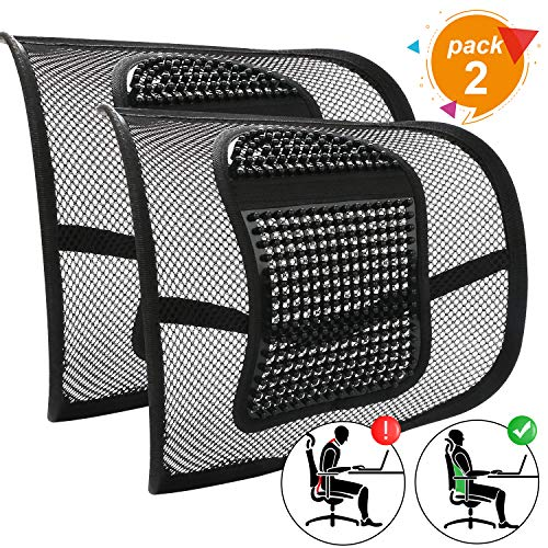 Mesh Back Support for Office Chair, 2Pcs Lumbar Support Cushion for Car Seat, Ergonomic Back Support Cushion, Lower Back Support, Back Rest Support Cushion, Back Pain Relief Chair Cushion