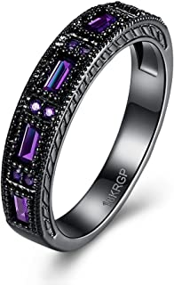 Promise Wedding Bands Black Plated Eternity Finger Round Circle Created Zirconia CZ Purple Rings