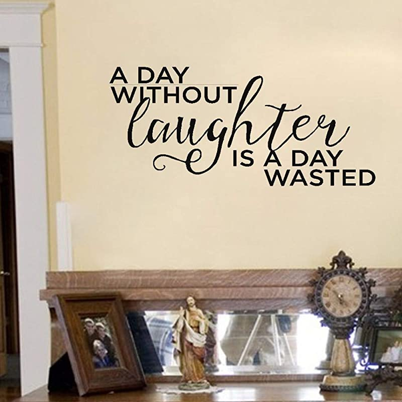 Wall Sticker Quote Wall Decal Funny Wallpaper Removable Vinyl A Day Without Laughter Is A Day Wasted For Bedroom Living Room Nursery Kids Room Home Decor
