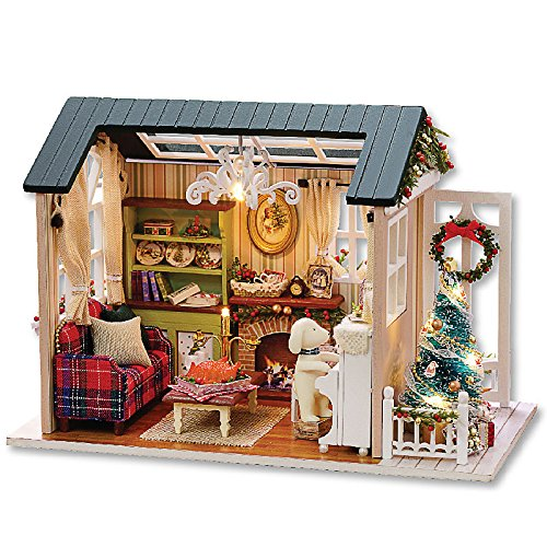Architecture Model Building Kits with Furniture LED Music Box Miniature Wooden Dollhouse Holiday Times Series 3D Puzzle Challenge