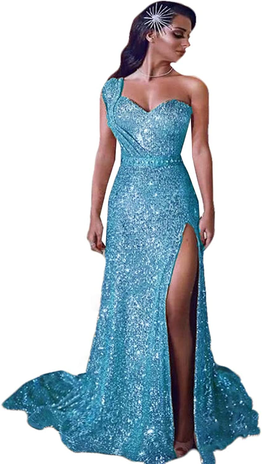 WZW 2019 One Shoulder Sequin Ruched Split Beaded Evening Party Gowns Plus Size Prom Dress