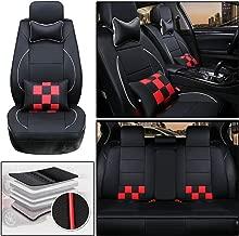 DBL 5SeatLuxuryLeatherCarSeat CoverFullSetFitfor Lincoln MKC MKZ MKX MKS MKT Continental Navigator AccessorieswithNeckPillow&BackCushion Type B Black & Red