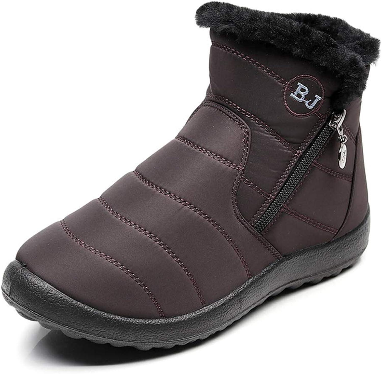 Women Ankle Snow Boot Cotton Fur Plush Zipper Waterproof Flat Black Grey Casual Outdoor Walking Female shoes