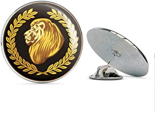 BRK Studio Cool Black and Gold Lion with Olive Branches Icon Round Metal 0.75