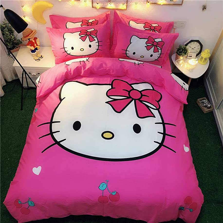 Warm Embrace Kids Bedding Set 100% Natural Cotton Girls Bed in a Bag Hello Kitty,Duvet/Comforter Cover and Pillowcase and Flat Sheet and Comforter,Queen Size,5 Piece