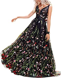KONVINIT Womens Long 3D Flower Prom Party Dress Backless Casual Gown Tulle Prom Maxi Dress