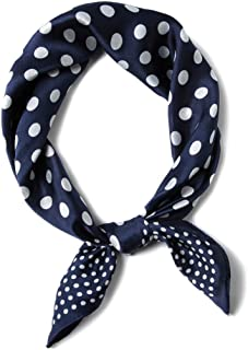 Women Spring Polka Dots Square Scarf 100% Silk, Warm Shawls Wraps Neck, Fall Lightweight Stylish Party Scarves for Lady, Best Festival Gifts (Color : Blue)