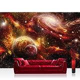 Vlies Fototapete 208x146cm PREMIUM PLUS Wand Foto Tapete Wand Bild Vliestapete - Himmel Tapete Weltraum Weltall Galaxy Sterne Planeten Himmel orange - no. 1379