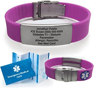 Silicone Sport Medical Alert ID Bracelet - Purple (Incl. 5 Lines of Custom Engraving). Choose Your Color! -