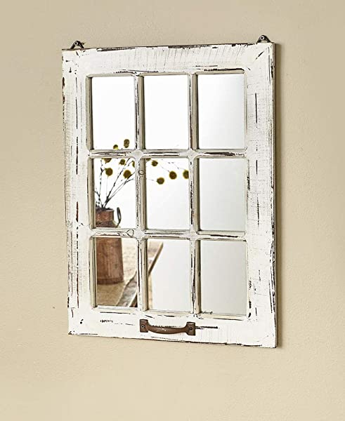 The Lakeside Collection Distressed Wood Windowpane Mirror White
