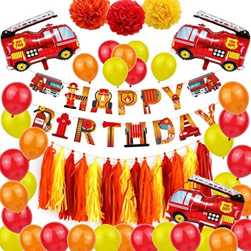 Noe 41 Stück Auto Kindergeburtstag Feuerwehrauto Thema Deko, Luftballons mit Feuerwehr/Firetruck Car, Papierblumen Deko -Jungen Favors Dekor, für Babyparty, Geburtstag Deko