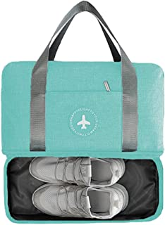 LOMAO Sports Bag Gym Bag with Shoes Compartment Hiking Travel Luggage Bag for Men and Women (Tiffany Blue)