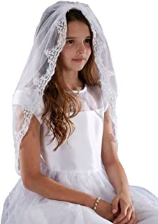 Sacred Traditions Girls Tulle Lace Edge Mantilla First Communion Veil, White, 36 Inch