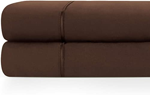 discount Zen 2021 Home Luxury 1500 Series Brushed Microfiber w/ Bamboo Blend Treatment Cal King Flat Sheet wholesale (2-Pack) - Brown outlet sale