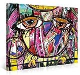 PICANOVA Doodle Owl 100x75cm – Premium Leinwanddruck – Kunstdruck Auf 2cm Holz-Keilrahmen Für Schlaf- Und Wohnzimmer Druck Auf Leinwand