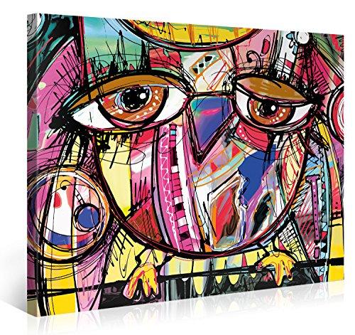 PICANOVA Doodle Owl 100x75cm – Premium Leinwanddruck – Kunstdruck Auf 2cm Holz-Keilrahmen Für Schlaf-Und Wohnzimmer Druck Auf Leinwand