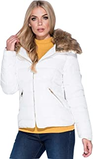 Momo&Ayat Fashions Ladies High Quality Faux Fur Shawl Collar Zip Detail Puffa Jacket AUS Size 6-14