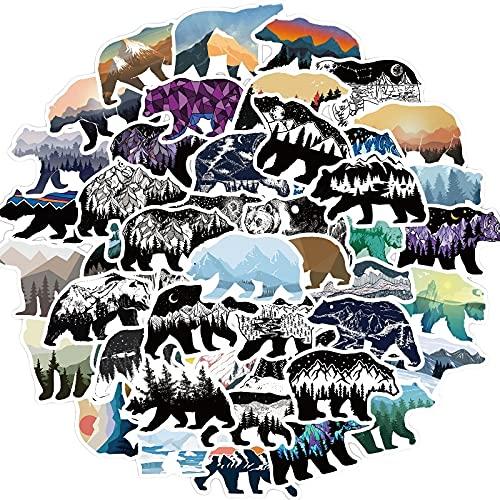 MBGM 50 piezas de dibujos animados al aire libre paisaje oso etiqueta...