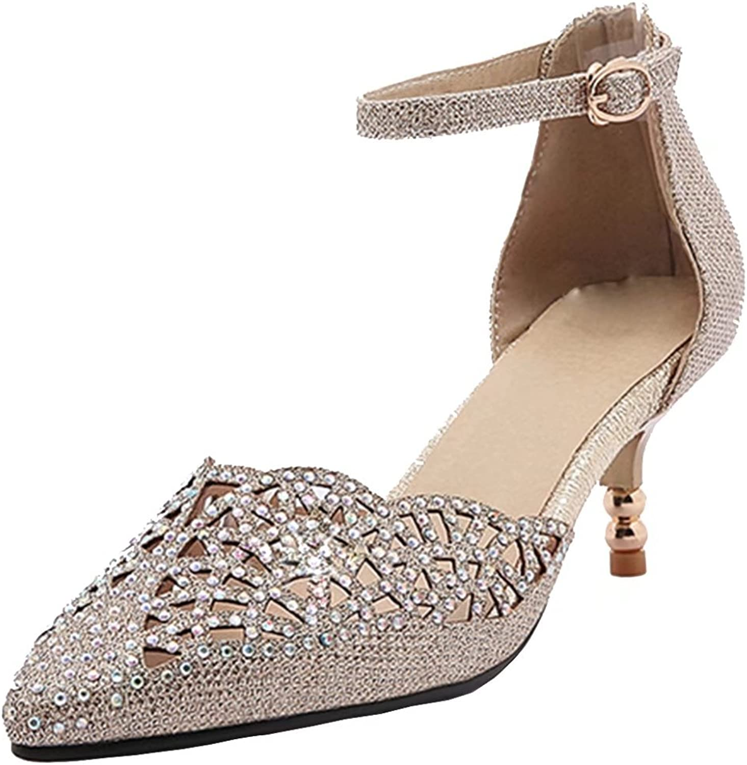 AIYOUMEI Women's Pointed Toe Glitter Kitten Heel Pumps with Rhinestones Ankle Strap shoes