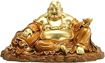 Collection Buddha Statue,Home Decor Happy Sitting Buddha Statue,Laughing Buddha Statue and Sculpture Gifts Decoration-Gold...