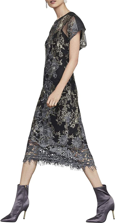 BCBG Max Azria Womens Metallic Floral Midi Dress