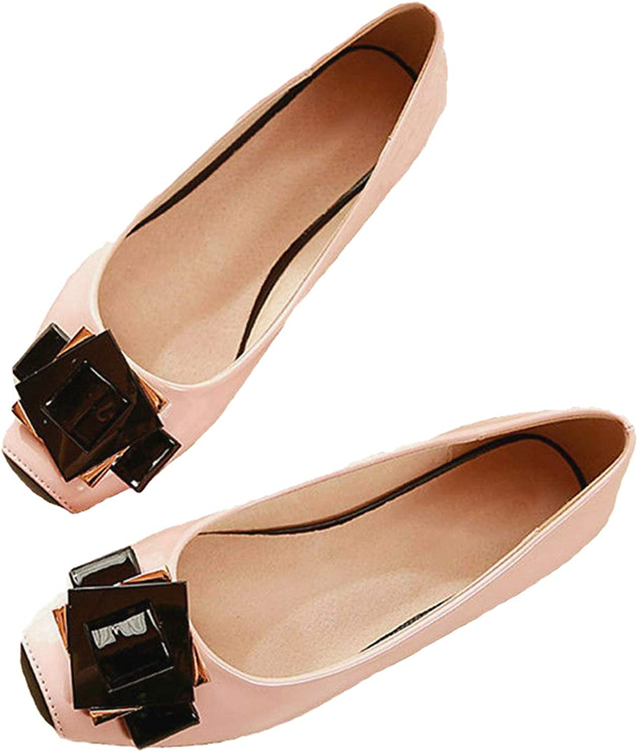Owen Moll Women Beige Flats, Sweet Square Toe Patent Leather Ballet Loafers shoes