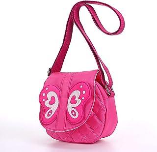 Hipiwe Kids Crossbody Purse Bag Pink Butterfly Mini Messenger Shoulder Purse Handbag with Strap
