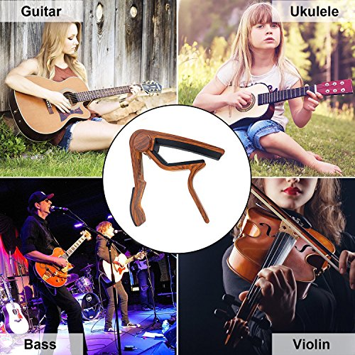 WINGO Guitar Capo for Acoustic and Electric Guitars - Rosewood with 5 Picks