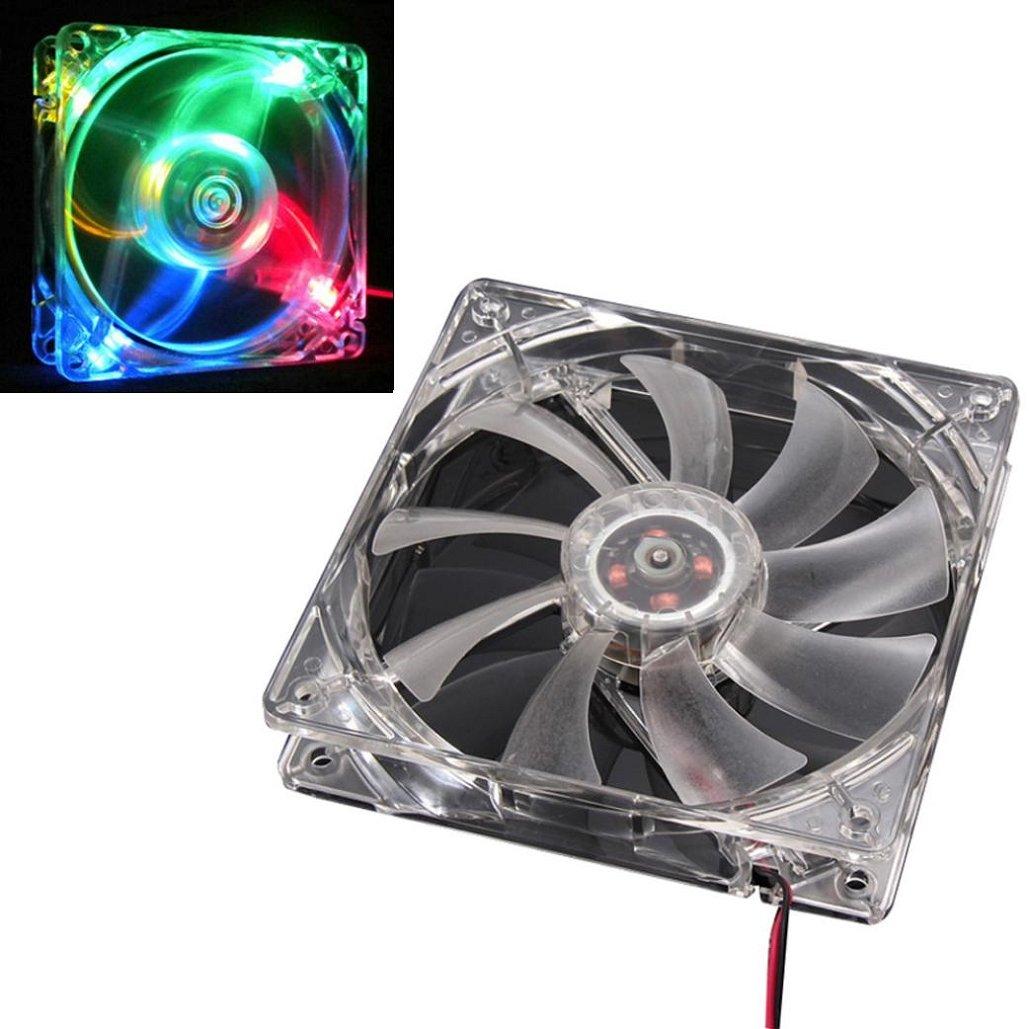 120mm 4Pin Kansas City Mall 4-LED Light Selling PC Computer Fan Neon Tuscom Cooling Case