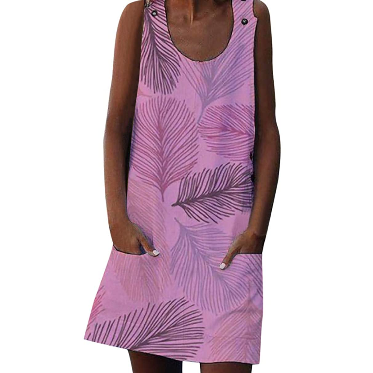 Women Boho Leaves Printed Dress, Summer Natural Buttons Loose Sleeveless Beach Maxi with Pockets