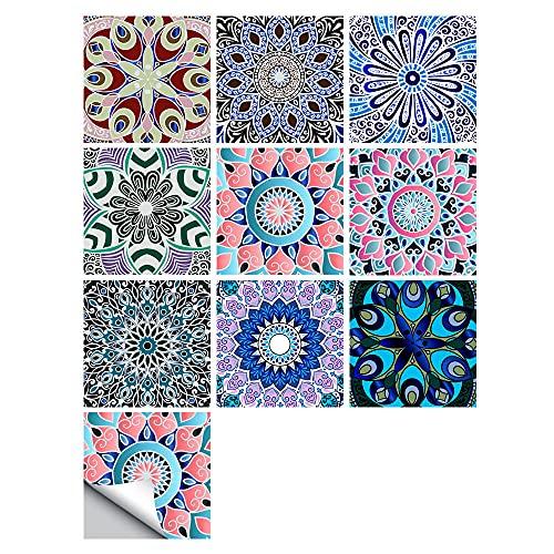 Pegatinas para azulejos de mandala impermeables, autoadhesivas, autoadhesivas, retro, cuadradas, para decoración de muebles de cocina, baño, 15 cm x 15 cm x 10 unidades