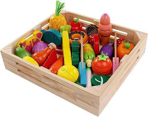 QIDUll Kind Holz Obst Spielzeug, Kid Holz Schneiden Obst Gemüse Küche Lebensmittel p gogisches Spielzeug für Kinder mädchen Jungen 3 4 5 Jahre alt