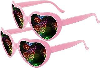 زوجان من نظارات الفرق في تأثير القلب - انظر القلوب! - نظارات شمسية من الجنسين للكبار من الجنسين من أجل مهرجان الموسيقى