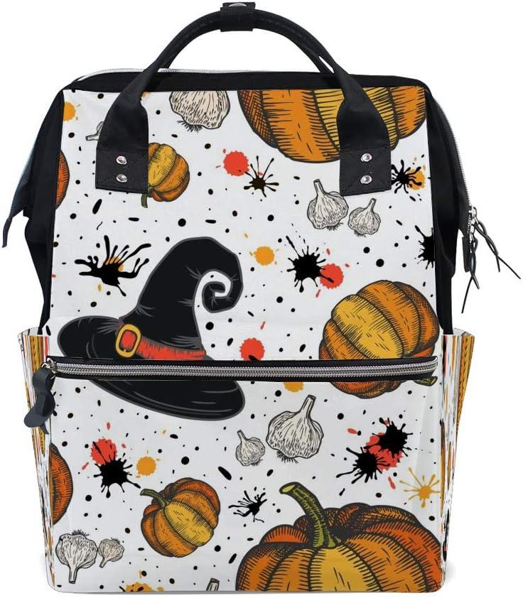 Kuizee Multipurpose Backpack Daily Rucksack Funny Pumpkin Witch Hat Garlic Halloween Mutispandex Casual Daypack Mummy Bag School Travel 15.7Inch