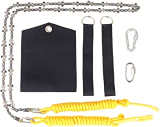 Loggers Art Gens 48 Inch High Reach Tree Limb Hand Rope Chain Saw and Blades on Both Sides-Best Folding Pocket Chain Saw for Camping,Field Survival Gear,Hunting.