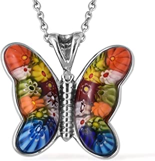 Butterfly Murano Millefiori Glass Flower Chain Pendant Fashion Necklace Stainless Steel Jewelry 24