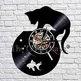 wtnhz LED-Gato pecera Art Deco Reloj de Pared Reloj de Vinilo Retro Gatito Gatito Decoración de Pared para Mascotas Habitación de los niños