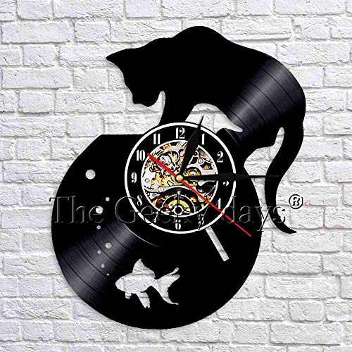wtnhz LED-Gato pecera Art Deco Reloj de Pared Reloj de Vinil