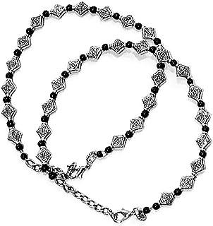 AyA Fashion Black Oxidised German Silver Anklet for Women
