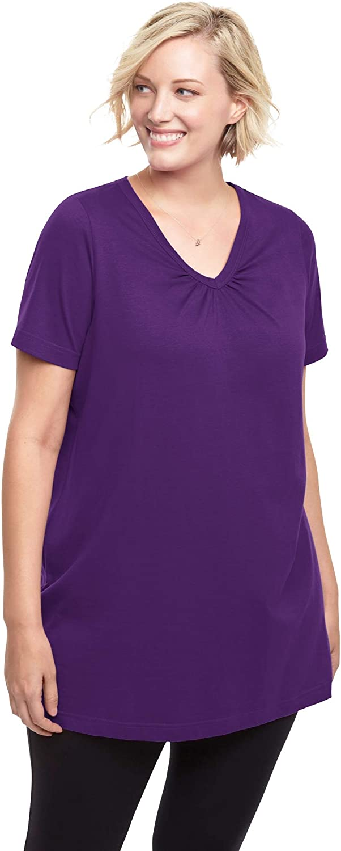 Woman Within Women's Plus Size Perfect Short-Sleeve Shirred V-Neck Tunic - 2X, Radiant Purple White
