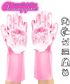 ANZOEE Reusable Silicone Dishwashing Gloves, Pair of Rubber Scrubbing Gloves for Dishes, Wash Cleaning Gloves with Sponge Scrubbers for Washing Kitchen, Bathroom, Car & More (Pink)