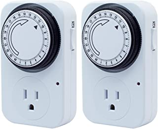 Fnado 24 Hour Plug-in Wall Heavy Duty Mechanical Timer Switches Grounded