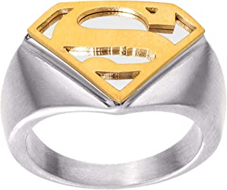 Mens Stainless Steel Justice League Superhero Logo Ring...