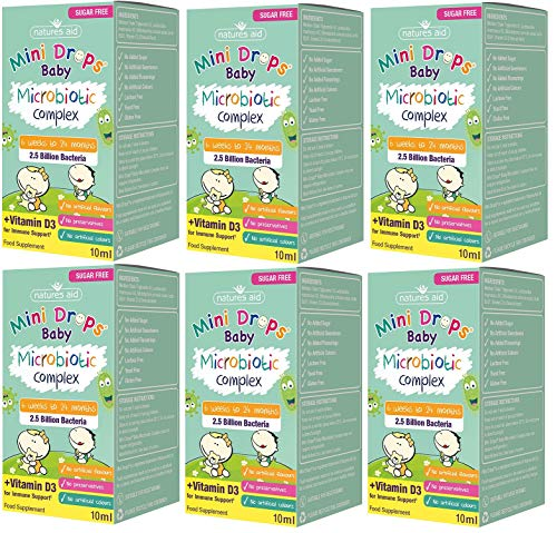 Natures Aid Mini Drops Baby Microbiotic Complex for Infants and Children, Sugar Free, 10ml (Pack of 6)