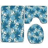 yuiytuo Alfombrillas de baño de 3 Piezas Tropical Blue Palm Pattern Custom Soft Comfort Flannel Bathroom Mats Anti-Skid Absorbent Toilet Seat Cover Bath Mat Lid Cover 3pcs/Set Rugs