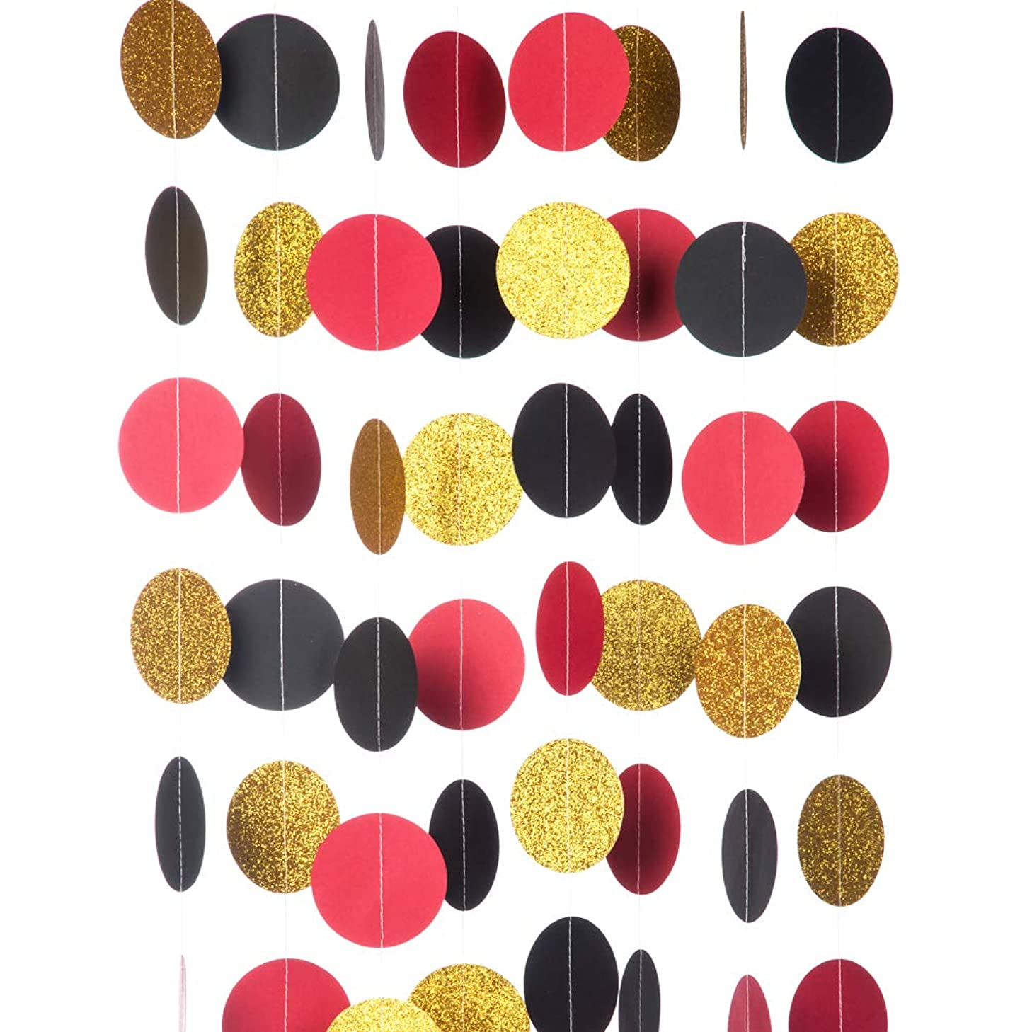 MOWO Glitter Paper Garland Circle Dots Hanging Decor,2.5'' in Diameter,10-feet(Gold Glitter/red/Black,2pc)